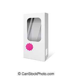 White box products package design, vector illustration