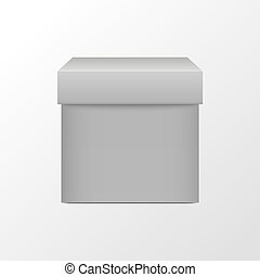 White box. Square package. 3D realistic blank cube