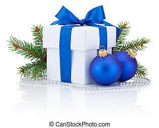 White box tied blue ribbon bow