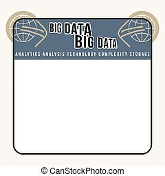 White box to fill your text and globe icon and blue arrows and big data headline