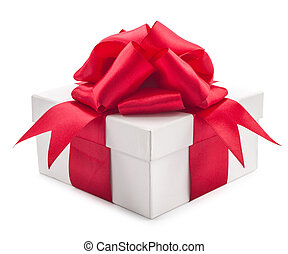 white box with a red bow isolated on white background