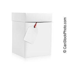 White box with blank tag, isolated on white