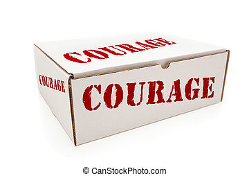 White Box with Courage on Sides Isolated - White Box with...
