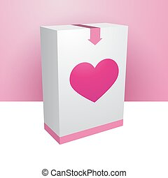 White box with pink heart