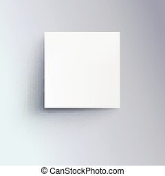 White box with shadow for logo, text or design. 3D illustration isolated, top view. Icon of cube close-up.