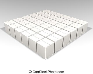 3D render of lots of white packaging boxes