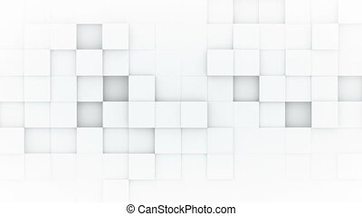 White boxes abstract 3D render loopable animation - White...