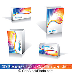 White Boxes Icon Set - Software or Generic Product 3D Boxes...