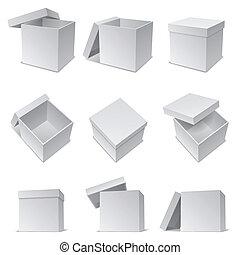 White boxes.