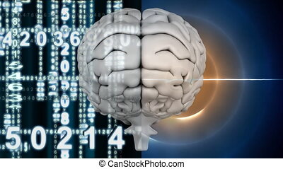 White brain with light circle shining and digital numbers