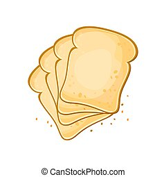 White bread, Set of 4 slices toast bread, vector illustration isolated on a white background.