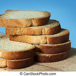 White bread sliced