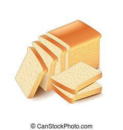 White bread sliced isolated on white vector
