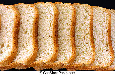 White bread slices in a row