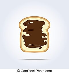 White bread toast icon with chocolate
