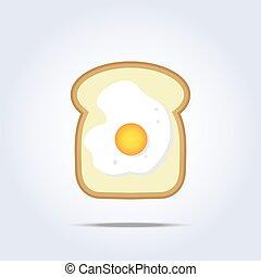 White bread toast icon with egg