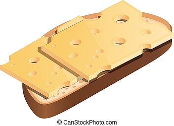 White bread with a thin layer of hard cheese on a white background. Cheese sandwich in isometric style, healthy dietary wholesome food. Vector illustration