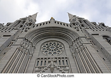White brich wall of basilica Sainte-Anne de Beaupre