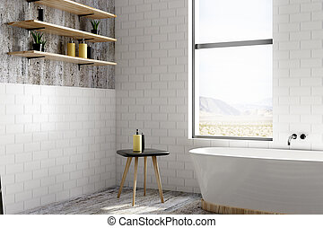 White brick bathroom