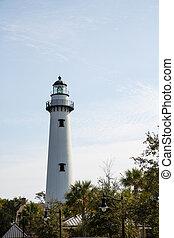White Brick Lighthouse Beyond Trees