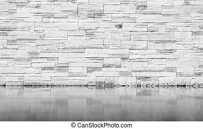 White brick wall and tile floor interiorbackground