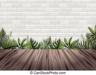 White brick wall and wooden floor