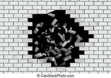 White brick wall falling down making a hole. Black background