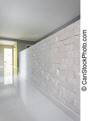 White brick wall in house design
