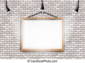 White brick wall picture projector