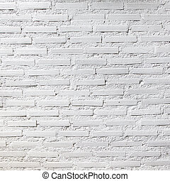 White brick wall texture for background, square photograph