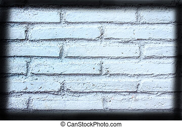 White brick wall texture with vignette for a background