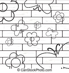 white brick wall with flover and butterfly background
