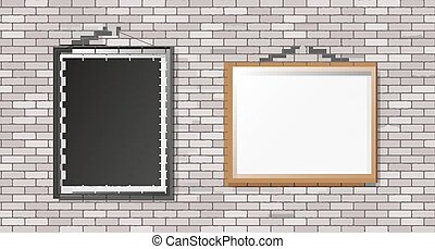 White brick wall with frames