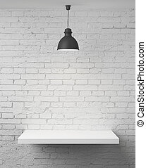 wall with shelf - white brick wall with shelf and lamp