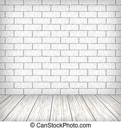 White brick wall with wooden floor in a vintage interior