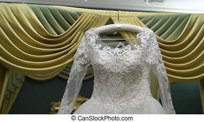 White bridal dress indoors - White bridal wedding dress...