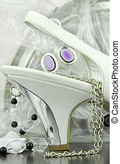white bridal shoes heels and accessories