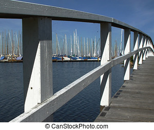 white bridge - in front of a yacht harbour in northern...