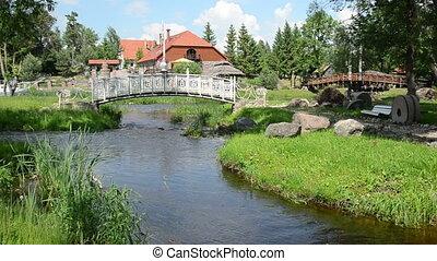 white bridge stream stone