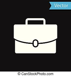 White Briefcase icon isolated on black background. Business case sign. Business portfolio. Vector Illustration