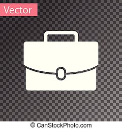 White Briefcase icon isolated on transparent background. Business case sign. Business portfolio. Vector Illustration