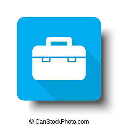 White Briefcase icon on blue web button