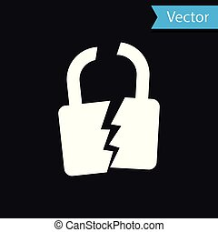 White Broken or cracked lock icon isolated on black background. Unlock sign. Vector Illustration
