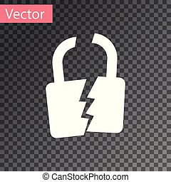 White Broken or cracked lock icon isolated on transparent background. Unlock sign. Vector Illustration