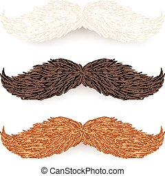 White, brown and red isolated mustaches set