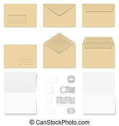 white + brown Envelopes / Writing Paper / Postage Stamps