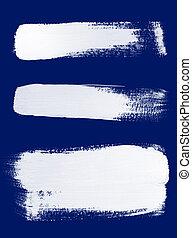 White brush strokes on blue background - Texture of white...