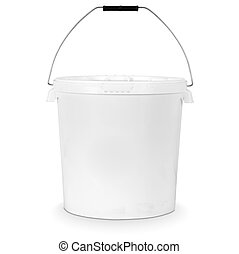 white bucket - white plastic bucket isolated on white