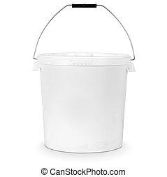 white plastic bucket isolated on white