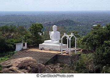 White Buddha and steps - Mihintale, Sri Lanka